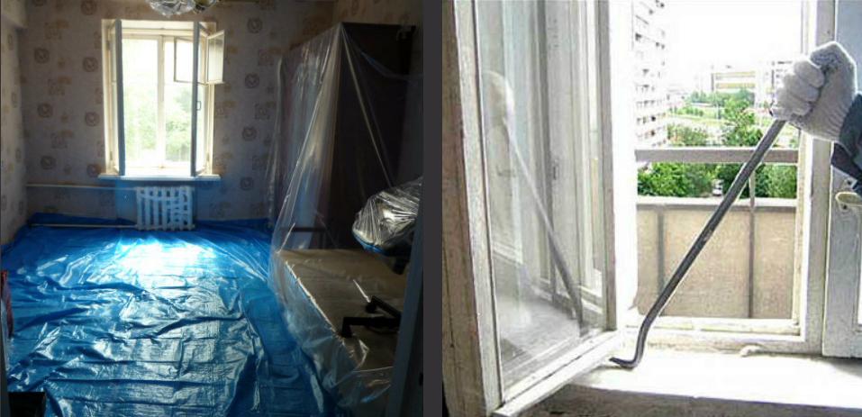 подготовка комнаты для демонтажа окон фото